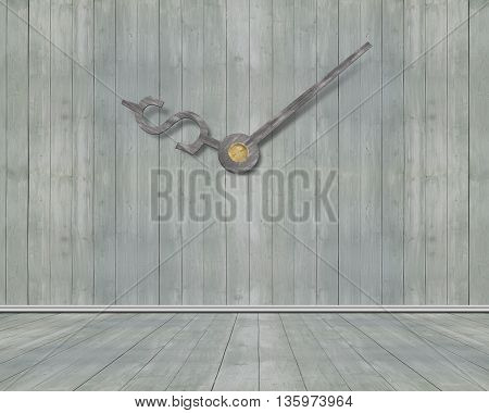 Wooden Wall Background With Money Sign Clock Hands, 3D Rendering
