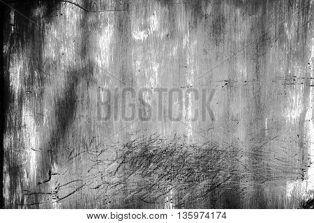 Black And White Of Grunge Rusty Zinc Wall Background.