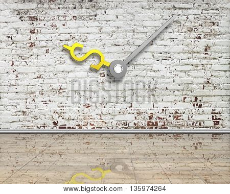 Old Bricks Wall With Money Sign Clock Hands And Reflective Clean Wooden Floor, 3D Rendering