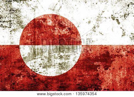Greenland flag on grunge paper texture background