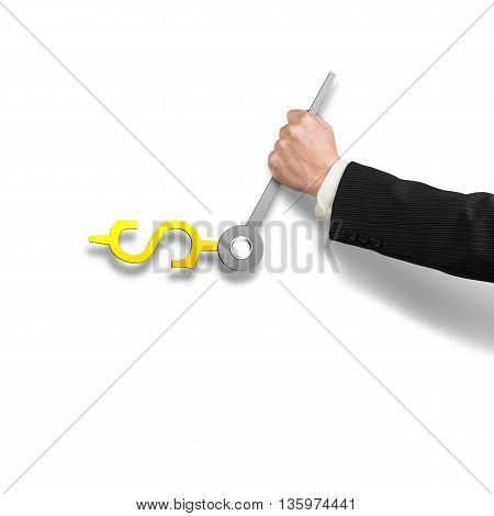 Clock Hands In Money Sign With Hand Holding, 3D Rendering