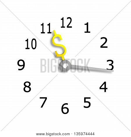 Clock Face With Usd Money Sign Symbol Hands, 3D Rendering
