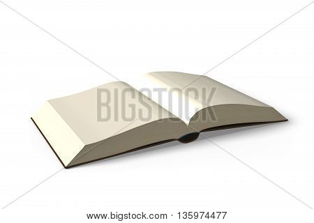 Opening Book  Isolated In White Background, 3D Rendering