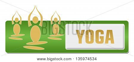 Yoga concept image with text and related symbol.