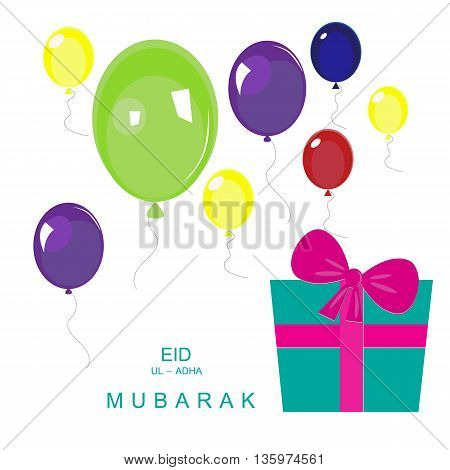 Beautiful greeting card design with colorful balloon decorated with gift box and of text Eid-Ul-Adha on white background.