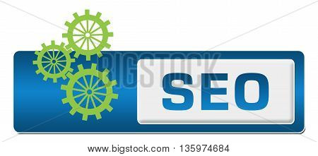 SEO concept image with text and gears symbol.