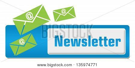 Newsletter concept image with text and mail symbol.