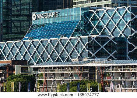 Sydney Australia - Mar 26 2016: Office building of Macquarie Group which is a global investment banking and diversified financial services group and the largest Australian investment bank