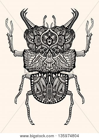 Black and white hand drawn zentangle stylized beetle. Doodle ethnic patterned vector bug. Sketch for tattoo poster print or t-shirt Forest tree. Detailed illustration. Black beige color