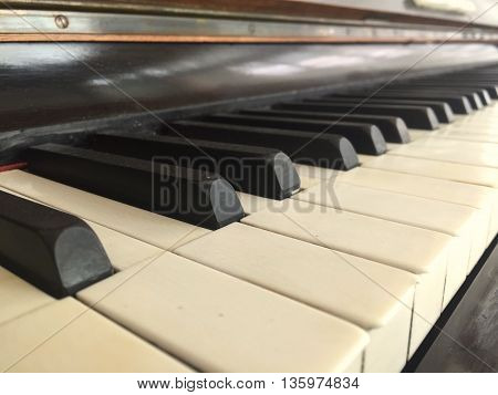 Piano keyboard background with old and vintage