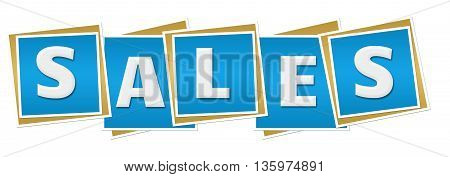 Sales text alphabets written over blue squares background.