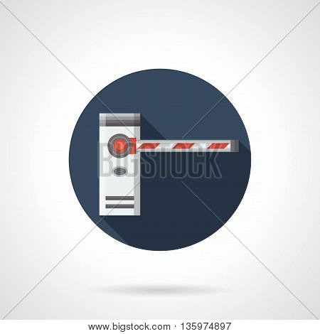 Entry security guard system. Closed barrier gate with red stripes. Stop signal on road, railroad crossing, checkpoints. Round flat color style vector icon.