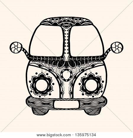 Hippie vintage car a mini van Detailed illustration. Vector artwork. Black beige color