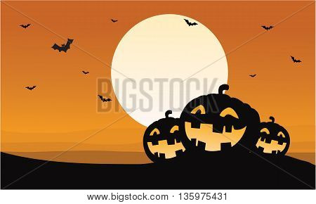 Silhouette of pumpkins and bat Halloween illustration