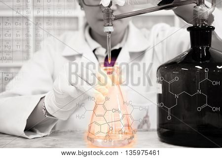 The woman who's the scientist is doing the experiment the titration of the reagent in the flask