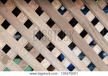 old weave brown wood wall in rural in  thailand