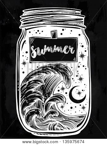 Hand drawn romantic wish jar with night sky and water waves in the sea or ocean . Vector illustration isolated. Tattoo design, mystic magic symbol for your use. Label has a message summer on it.