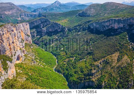 Canyon of Verdon, Provence, France. Magnificent May in the wooded mountains