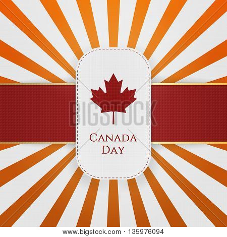 Canada Day paper Emblem with red Ribbon. Vector Illustration