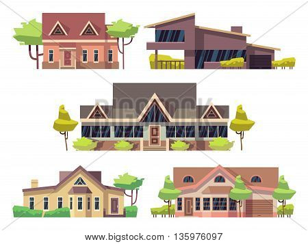Private residential cottage houses flat vector icons. Set of modern houses and architecture residential house with green tree illustration