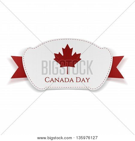 Canada Day realistic Banner with Ribbon. Vector Illustration