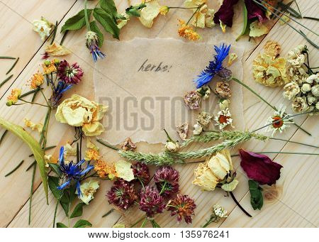 Dried herbs blend scattered flower pile wooden table, herbal blend, healthy skin care. Parchment paper, pencil handwritten text.