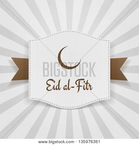 Eid al-Fitr muslim greeting Badge. Vector Illustration