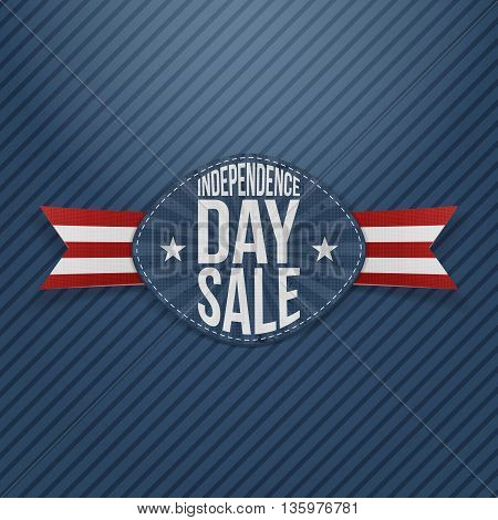 Independence Day Sale scratched Tag. Vector Illustration