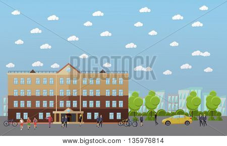 School and college vector banner. Students and teachers walk next to university and school buildings.