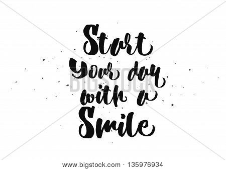 Start today with a smile inspirational inscription. Greeting card with calligraphy. Hand drawn lettering quote design. Photo overlay. Typography for banner poster or clothing design. Vector invitation