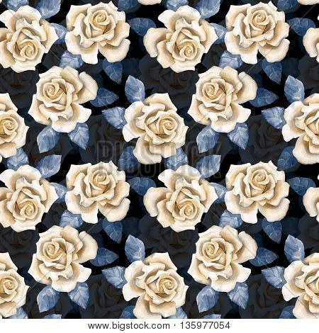 Beautiful buds, seamless background. Watercolor roses pattern 5
