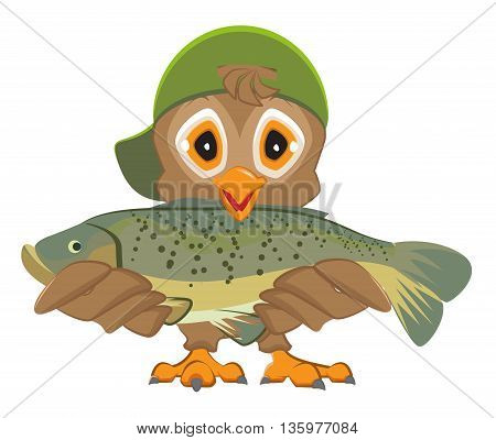 Owl holding fish. Fisherman with catch. Isolated on white vector cartoon illustration