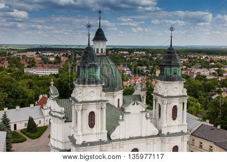 The view from the bell tower of the Basilica of the Virgin of Our Lady of the city Chelm in eastern Poland