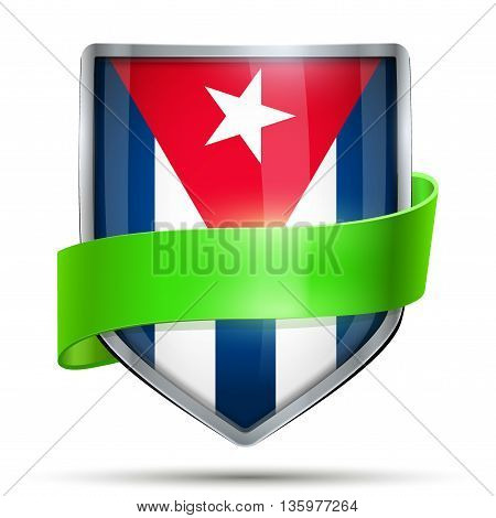 Shield with flag Cuba and ribbon. Editable Vector Illustration isolated on white background.