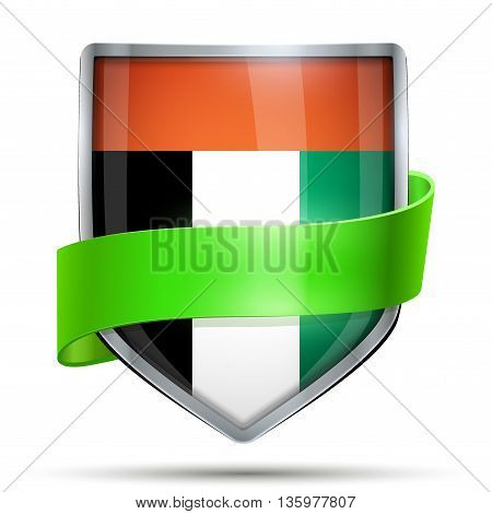Shield with flag UAE and ribbon. Editable Vector Illustration isolated on white background.