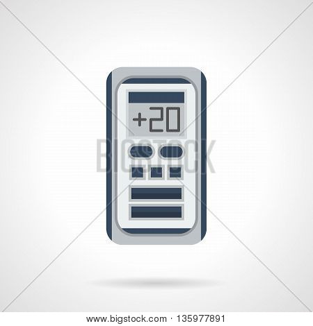 Remote control for air-condition system. Electronic temperature regulation. Modern climatic appliances and equipment for home and office. Flat color style vector icon.