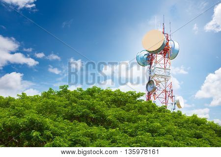 Telecommunication tower peaking above tree top on a bright blue sunny sky and white fluffy clouds