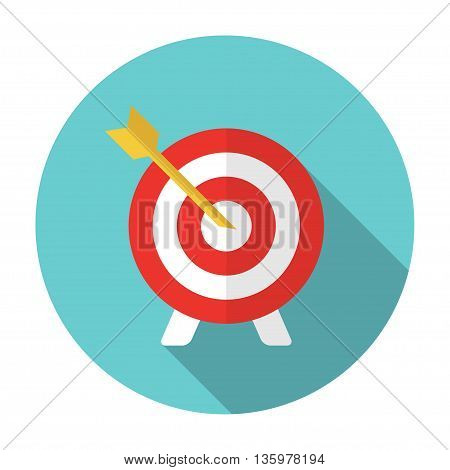 Vector flat target and arrow icon on white background
