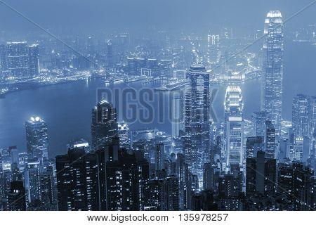 Night view at victoria in Hong Kong