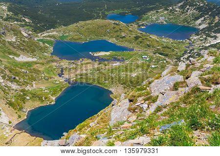 The Seven Rila Lakes - Bliznaka, Trilistnika, Ribnoto and Dolnoto Lakes in National Park Rila, Bulgaria