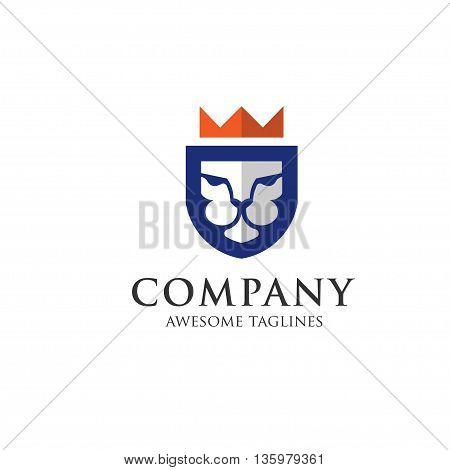 Lion head - vector emblem logo flat creative illustration