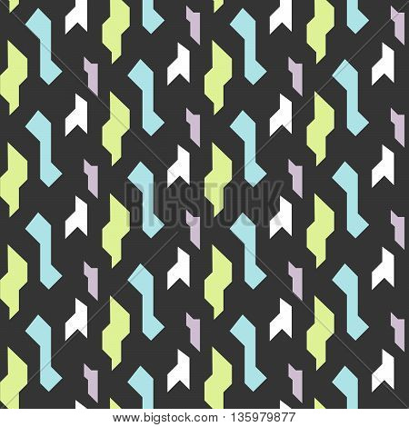 Abstract geometric shapes dark seamless pattern. Vintage geometry inspired seamless lilac, green and blue on dark background.
