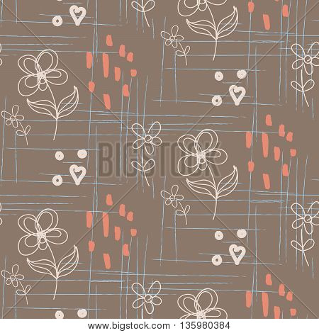 Rustic hand drawn flower coffee-colored seamless pattern. Line style florals and rough smears design for cotton or linen textile.
