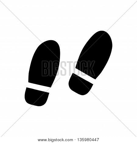 Sign shoes. Standing icon. Imprint of foot isolated on white background. Public information icon of step. Shoe symbol. Footprint plane mark. Stock Vector illustration