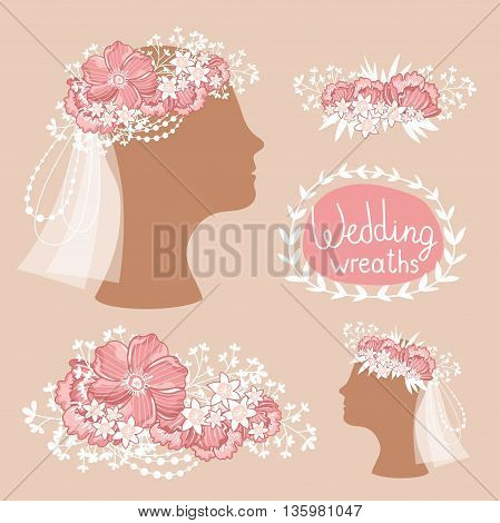 Floral wedding wreath on the heads. Flower diadem. Vector illustration.