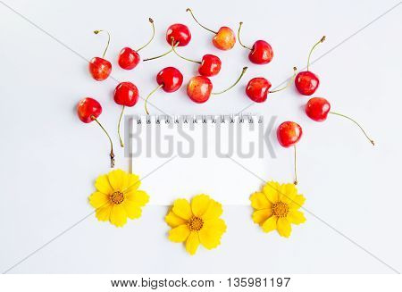 Blank spiral notepad, yellow flowers and ripe red cherries on a white background, space for text or message