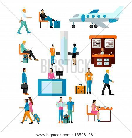 Vector set of people in airport isolated on white background. Passengers in airport icons and design elements.