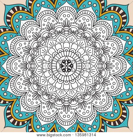 Printable antistress coloring book page for adults - mandala design, activity to older children and relax adult. vector coloring book Islam, Arabic, Indian, ottoman motifs. Oriental colorful mandala.