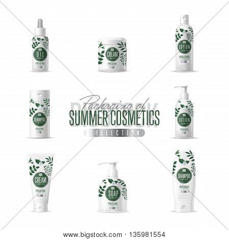Organic cosmetic brand vector packaging template, body care product. Oil, lotion or soap, shampoo, cream. Realistic bottle mock up set, isolated pack on white background.