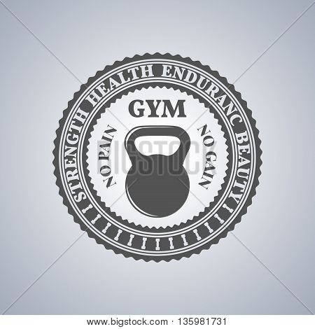 Grey sports emblem logo label for a fitness club a gym a sports center with sports equipment elements in vintage style vector illustration.